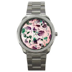 Spiral Eucalyptus Leaves Sport Metal Watch by DanaeStudio