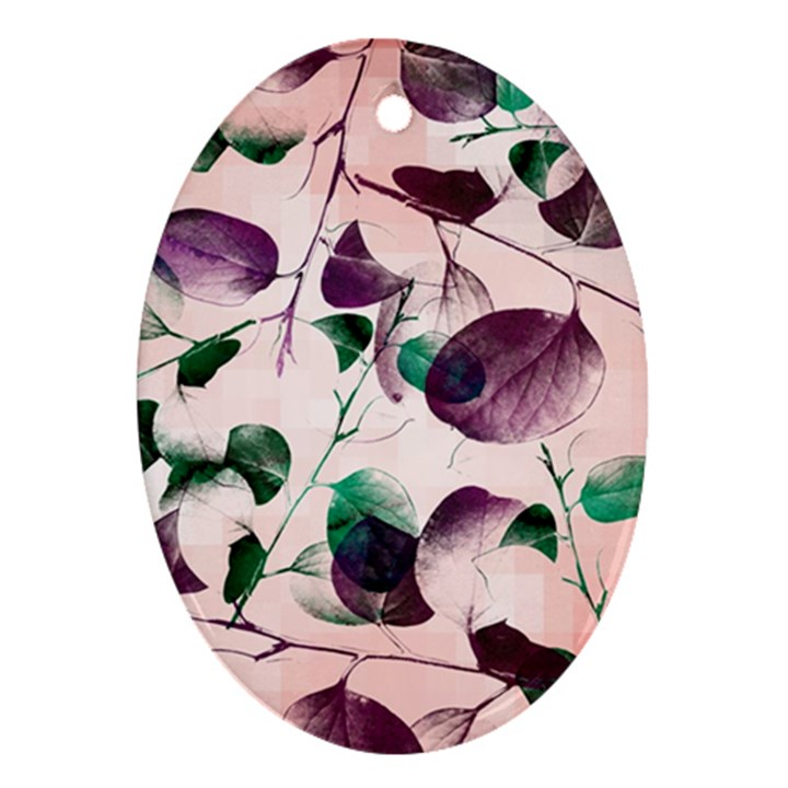 Spiral Eucalyptus Leaves Oval Ornament (Two Sides)