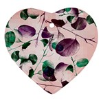 Spiral Eucalyptus Leaves Heart Ornament (2 Sides)