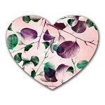 Spiral Eucalyptus Leaves Heart Mousepads