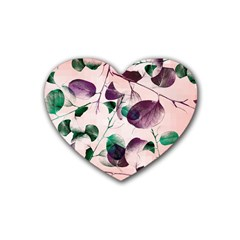 Spiral Eucalyptus Leaves Heart Coaster (4 Pack)  by DanaeStudio