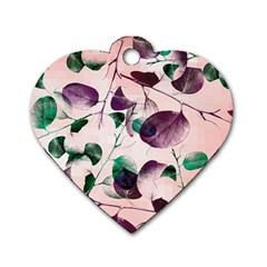 Spiral Eucalyptus Leaves Dog Tag Heart (one Side) by DanaeStudio