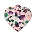 Spiral Eucalyptus Leaves Dog Tag Heart (Two Sides)