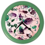 Spiral Eucalyptus Leaves Color Wall Clocks