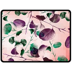 Spiral Eucalyptus Leaves Fleece Blanket (large)  by DanaeStudio