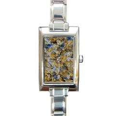 Antique Anciently Gold Blue Vintage Design Rectangle Italian Charm Watch by designworld65