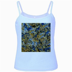 Antique Anciently Gold Blue Vintage Design Baby Blue Spaghetti Tank