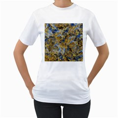 Antique Anciently Gold Blue Vintage Design Women s T Shirt (white) (two Sided)
