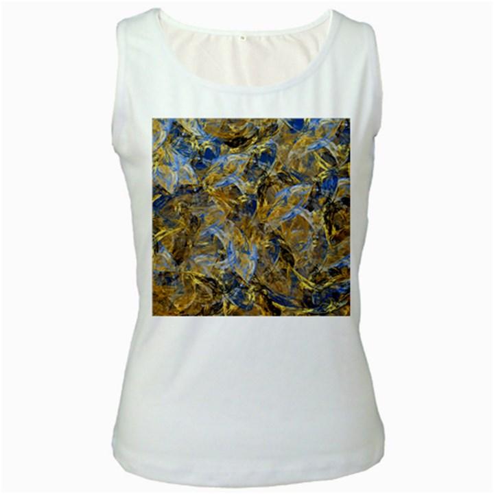 Antique Anciently Gold Blue Vintage Design Women s White Tank Top