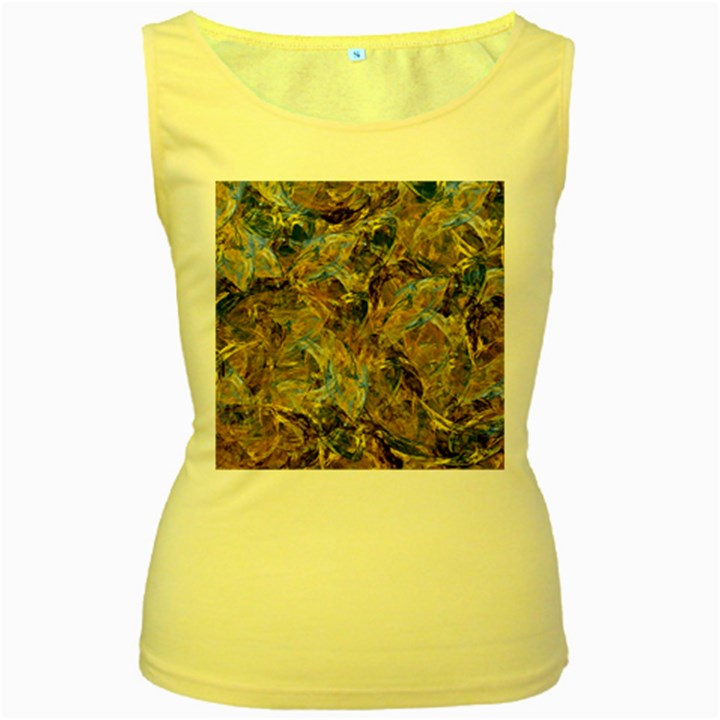 Antique Anciently Gold Blue Vintage Design Women s Yellow Tank Top