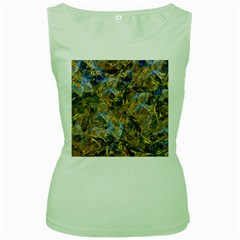 Antique Anciently Gold Blue Vintage Design Women s Green Tank Top