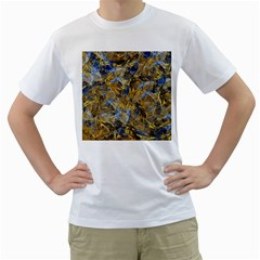 Antique Anciently Gold Blue Vintage Design Men s T Shirt (white) (two Sided) by designworld65