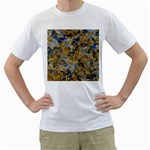 Antique Anciently Gold Blue Vintage Design Men s T-Shirt (White) (Two Sided)