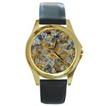 Antique Anciently Gold Blue Vintage Design Round Gold Metal Watch