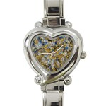 Antique Anciently Gold Blue Vintage Design Heart Italian Charm Watch