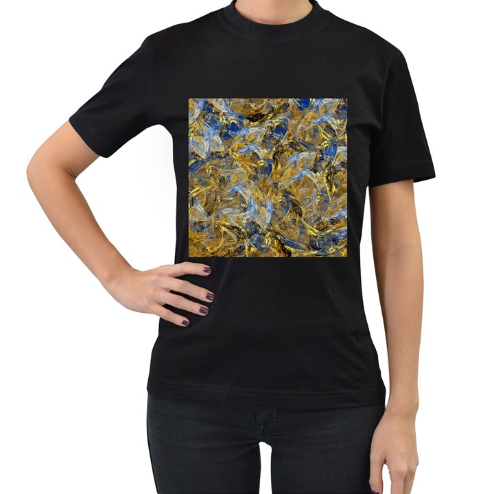Antique Anciently Gold Blue Vintage Design Women s T-Shirt (Black) (Two Sided)