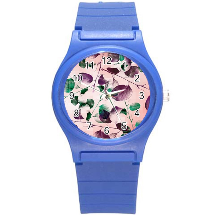 Spiral Eucalyptus Leaves Round Plastic Sport Watch (S)