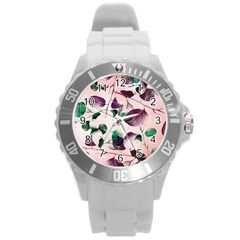 Spiral Eucalyptus Leaves Round Plastic Sport Watch (l) by DanaeStudio