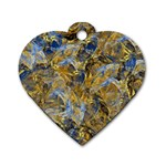 Antique Anciently Gold Blue Vintage Design Dog Tag Heart (Two Sides)