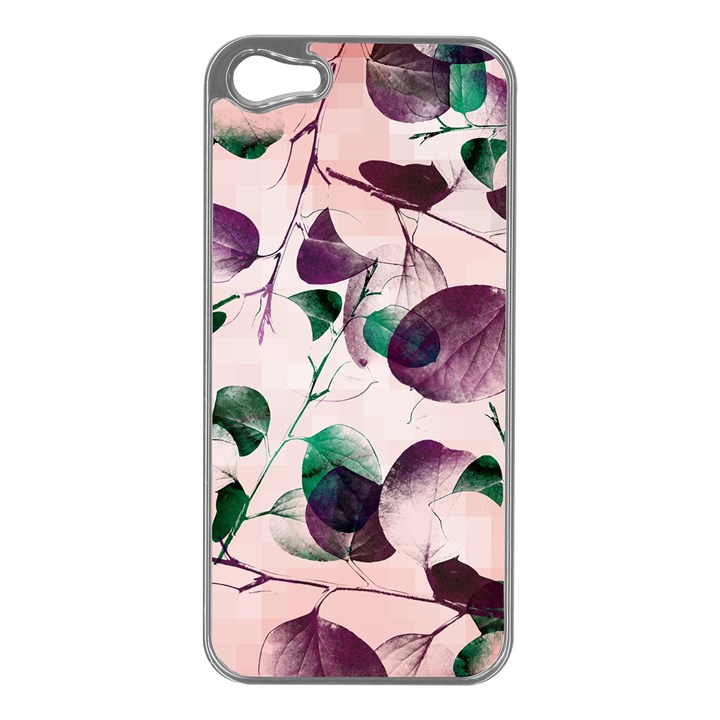 Spiral Eucalyptus Leaves Apple iPhone 5 Case (Silver)