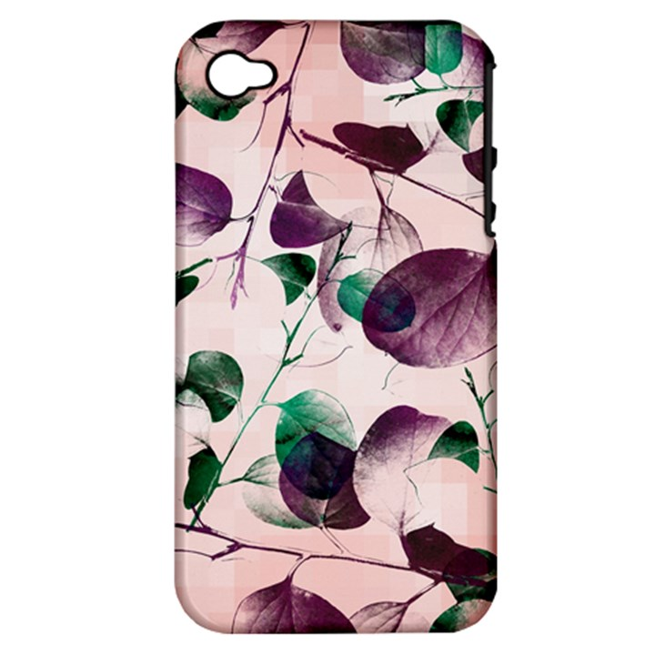 Spiral Eucalyptus Leaves Apple iPhone 4/4S Hardshell Case (PC+Silicone)