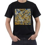 Antique Anciently Gold Blue Vintage Design Men s T-Shirt (Black)