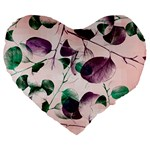 Spiral Eucalyptus Leaves Large 19  Premium Heart Shape Cushions