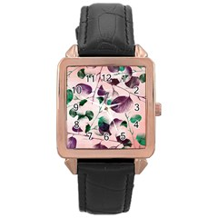 Spiral Eucalyptus Leaves Rose Gold Leather Watch