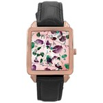 Spiral Eucalyptus Leaves Rose Gold Leather Watch  Front