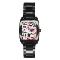 Spiral Eucalyptus Leaves Stainless Steel Barrel Watch by DanaeStudio
