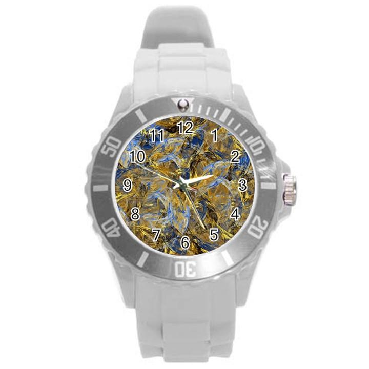 Antique Anciently Gold Blue Vintage Design Round Plastic Sport Watch (L)