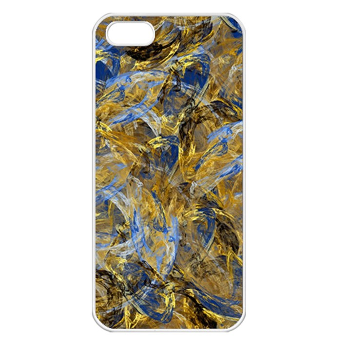 Antique Anciently Gold Blue Vintage Design Apple iPhone 5 Seamless Case (White)