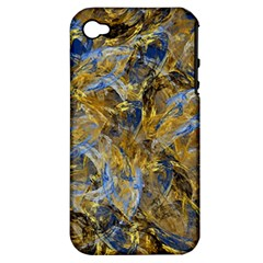 Antique Anciently Gold Blue Vintage Design Apple Iphone 4/4s Hardshell Case (pc+silicone) by designworld65
