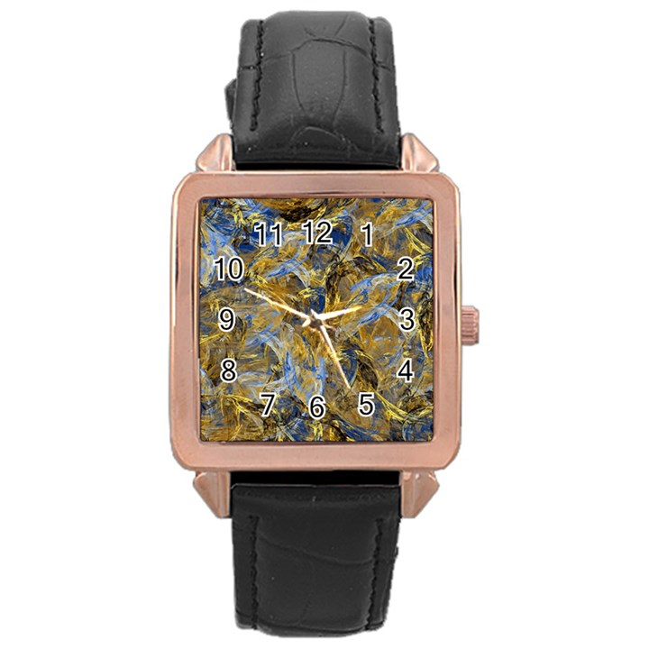 Antique Anciently Gold Blue Vintage Design Rose Gold Leather Watch