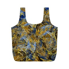 Antique Anciently Gold Blue Vintage Design Full Print Recycle Bags (m)