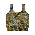 Antique Anciently Gold Blue Vintage Design Full Print Recycle Bags (M)  Back