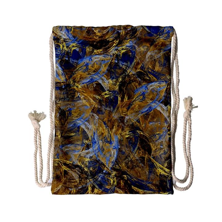 Antique Anciently Gold Blue Vintage Design Drawstring Bag (Small)