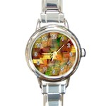 Indian Summer Funny Check Round Italian Charm Watch Front