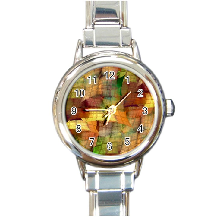 Indian Summer Funny Check Round Italian Charm Watch