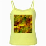 Indian Summer Funny Check Yellow Spaghetti Tank Front