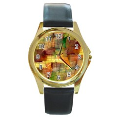 Indian Summer Funny Check Round Gold Metal Watch by designworld65