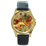 Indian Summer Funny Check Round Gold Metal Watch