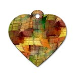 Indian Summer Funny Check Dog Tag Heart (Two Sides) Front