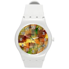 Indian Summer Funny Check Round Plastic Sport Watch (m) by designworld65