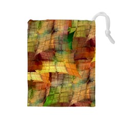Indian Summer Funny Check Drawstring Pouches (large)  by designworld65