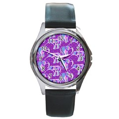 Cute Violet Elephants Pattern Round Metal Watch by DanaeStudio