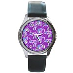 Cute Violet Elephants Pattern Round Metal Watch Front