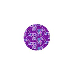 Cute Violet Elephants Pattern 1  Mini Magnets