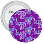 Cute Violet Elephants Pattern 3  Buttons Front