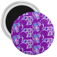 Cute Violet Elephants Pattern 3  Magnets by DanaeStudio